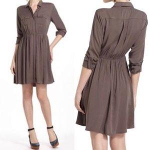 Anthro Maeve Dakota Shirt Dress Olive Gray Brown